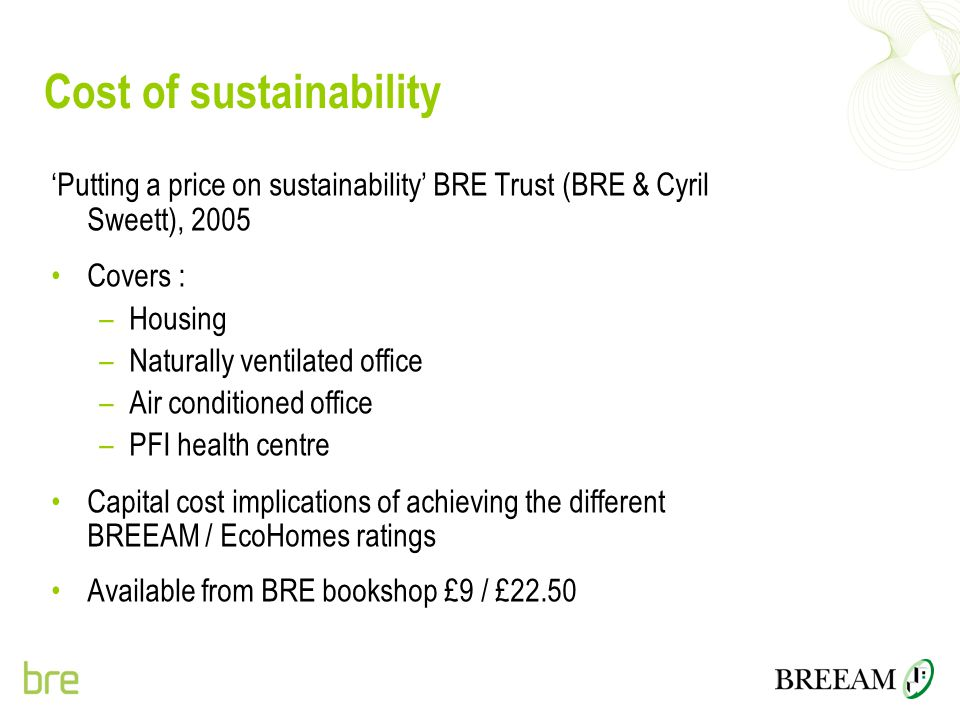 Cost of sustainability