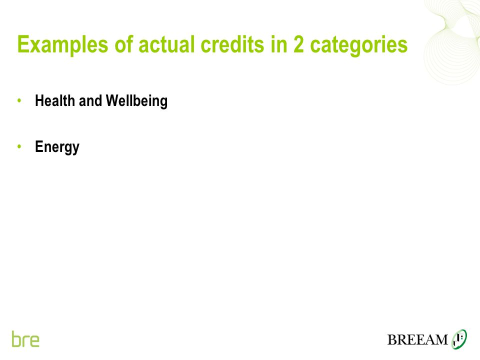 Examples of actual credits in 2 categories