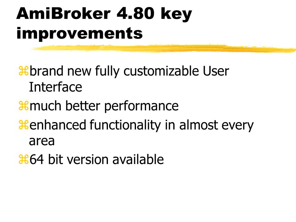 AmiBroker 4.80 key improvements