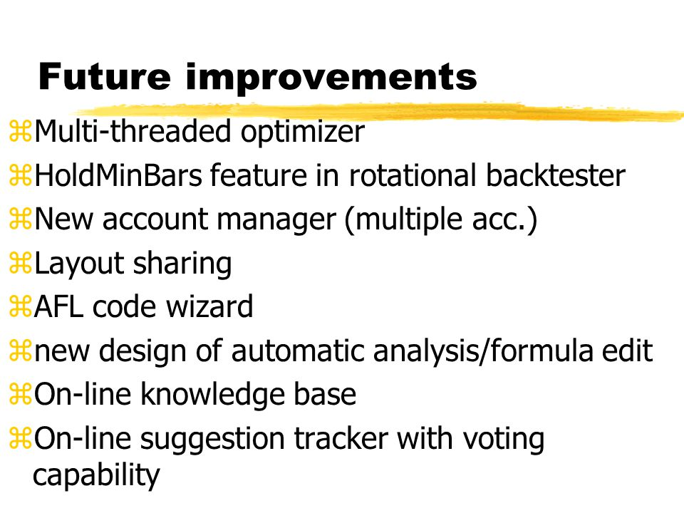 Future improvements Multi-threaded optimizer