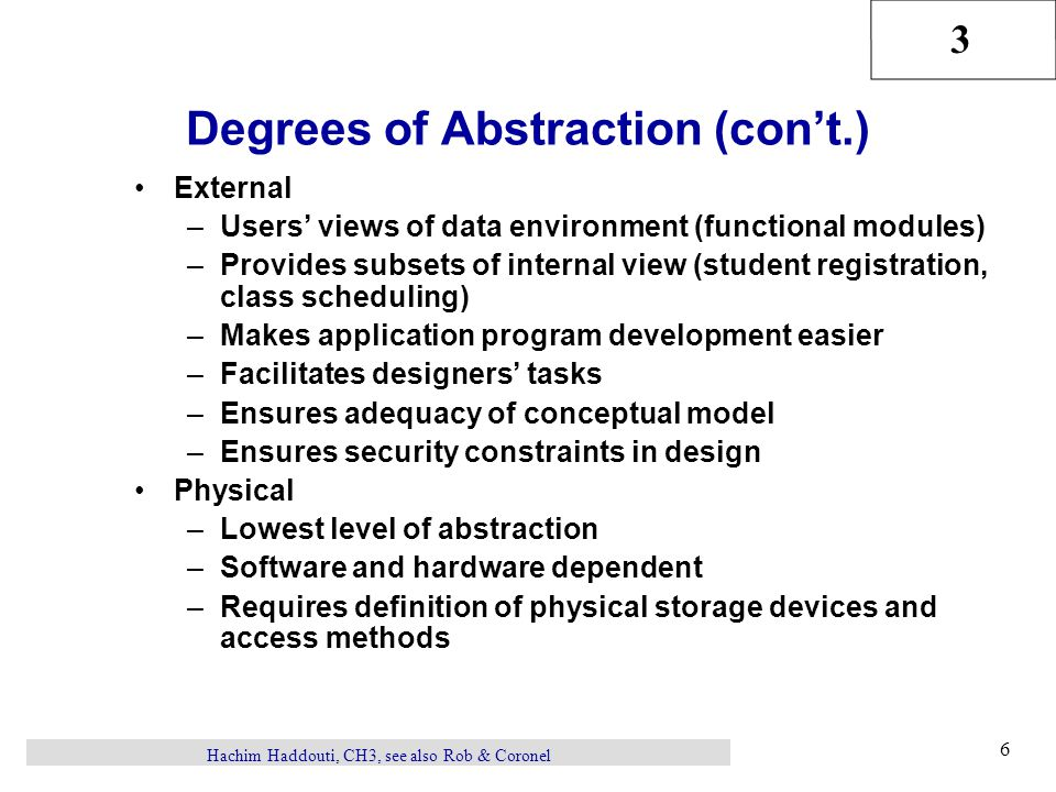 Degrees of Abstraction (con't.)