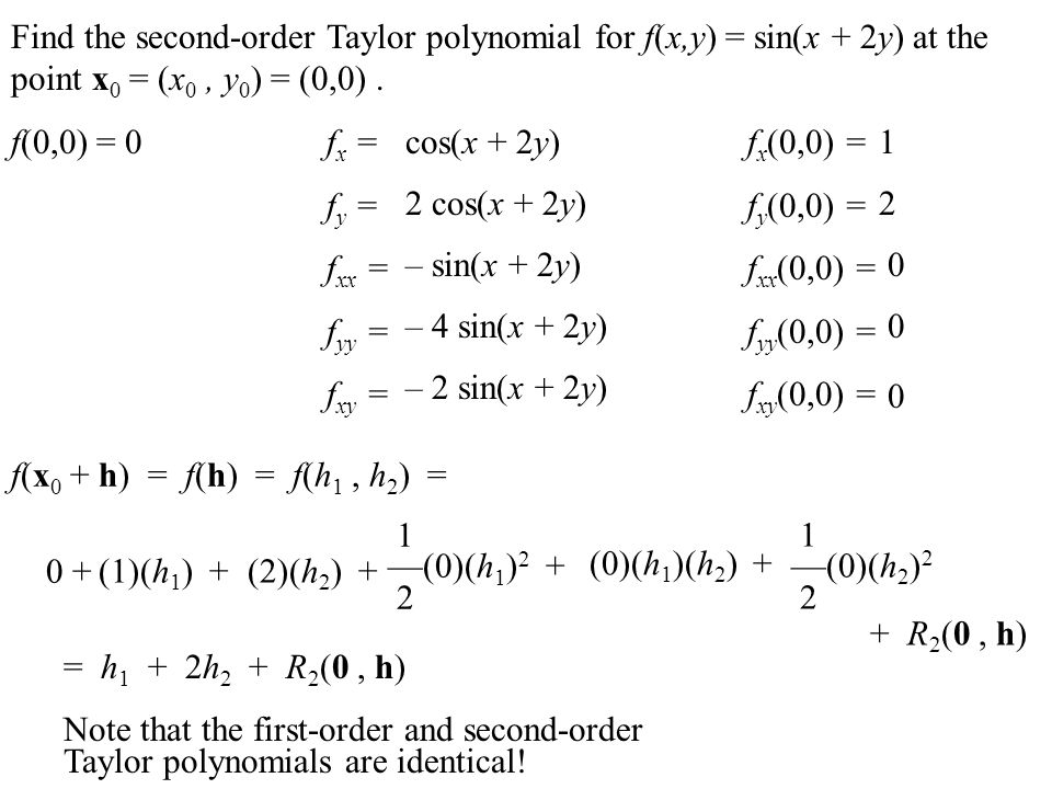 Find the second-order Taylor polynomial for f(x,y) = sin(x + 2y) at the point x0 = (x0 , y0) = (0,0) .