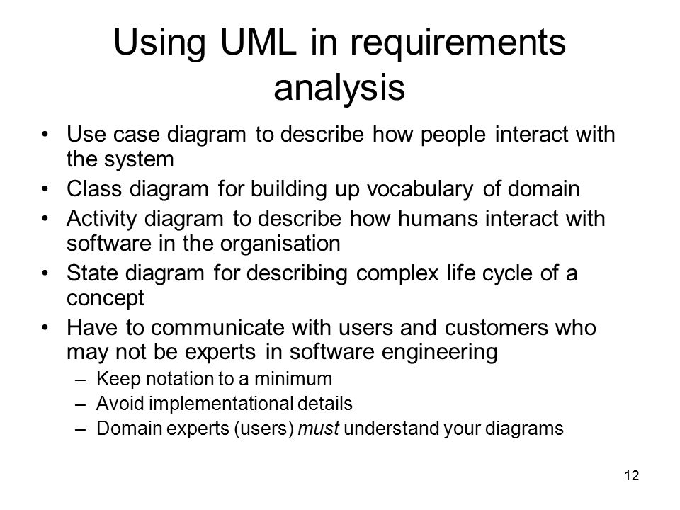 Using UML in requirements analysis