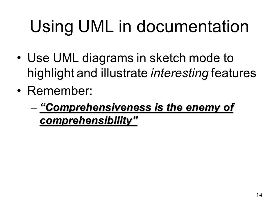Using UML in documentation