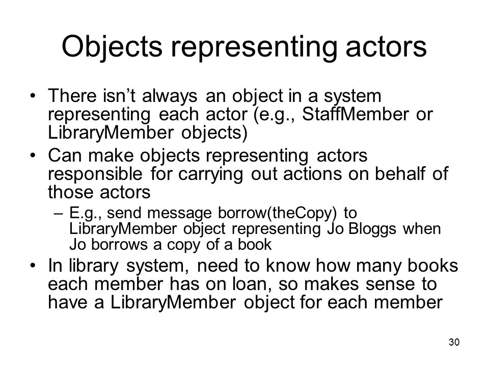 Objects representing actors