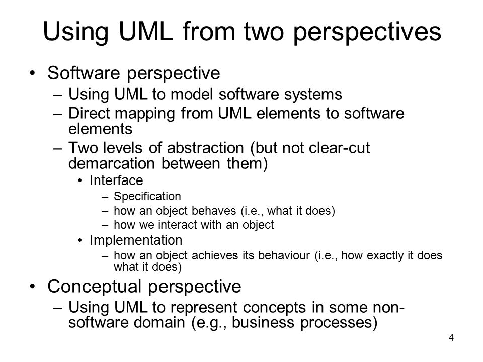 Using UML from two perspectives