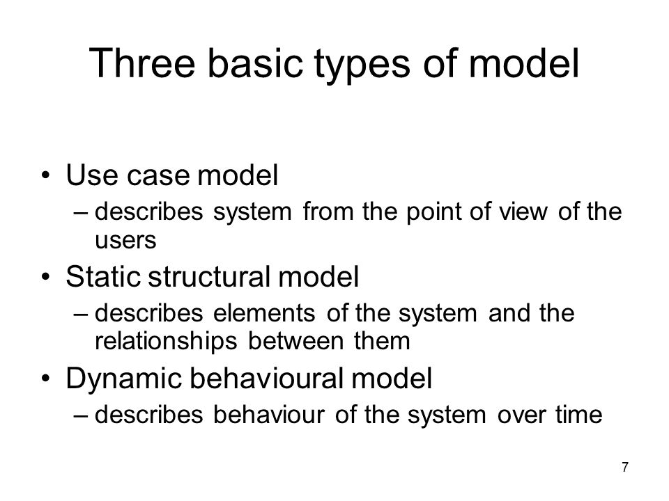 Three basic types of model