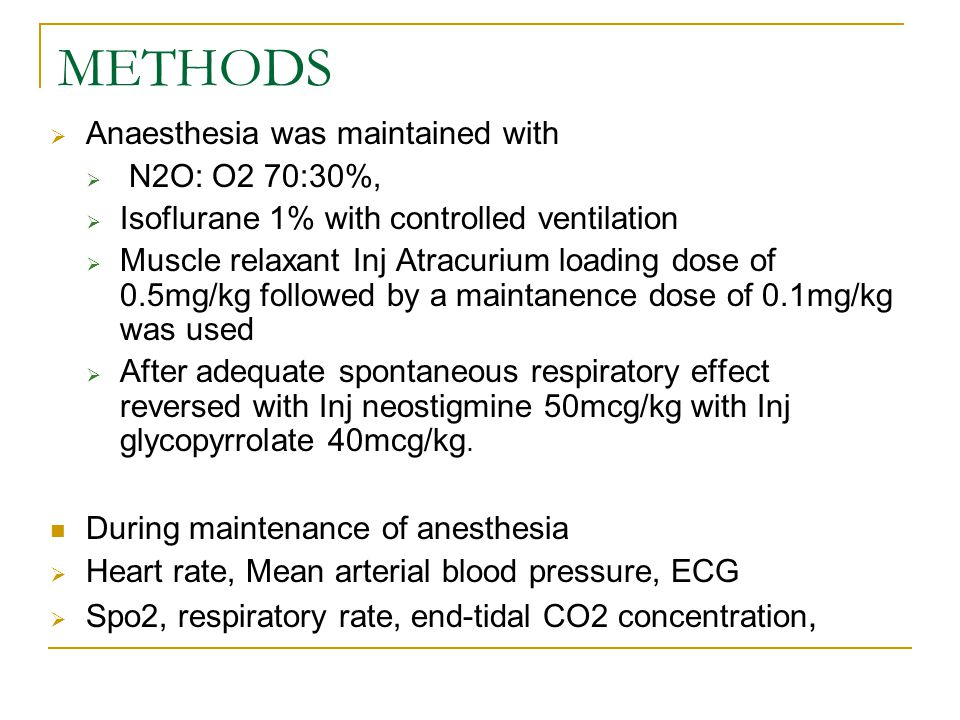METHODS Anaesthesia was maintained with N2O: O2 70:30%,
