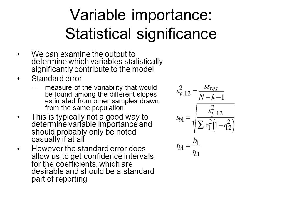 Variable importance: Statistical significance