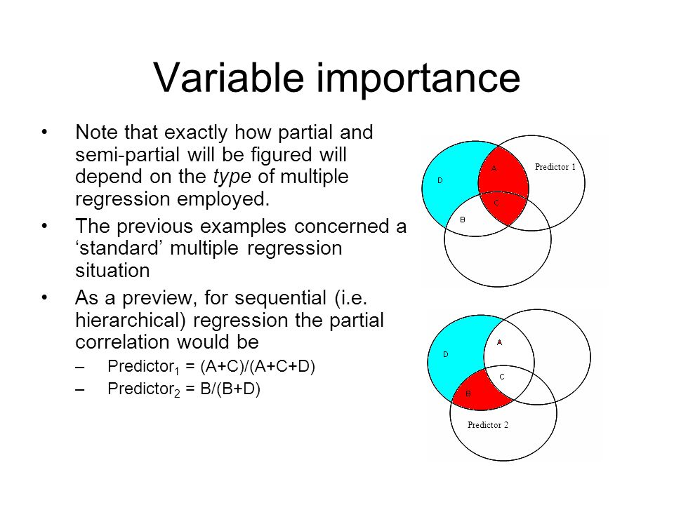 Variable importance Note that exactly how partial and semi-partial will be figured will depend on the type of multiple regression employed.