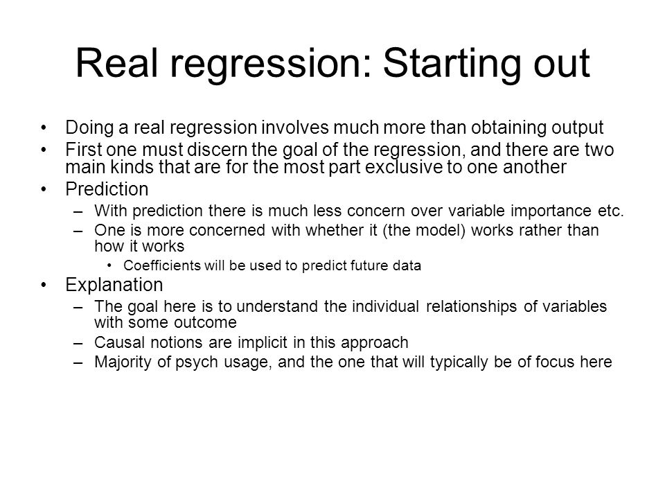 Real regression: Starting out
