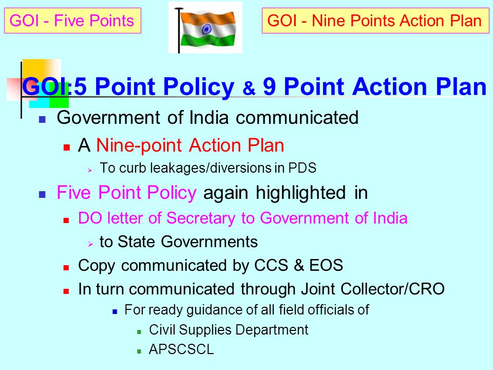 GOI:5 Point Policy & 9 Point Action Plan