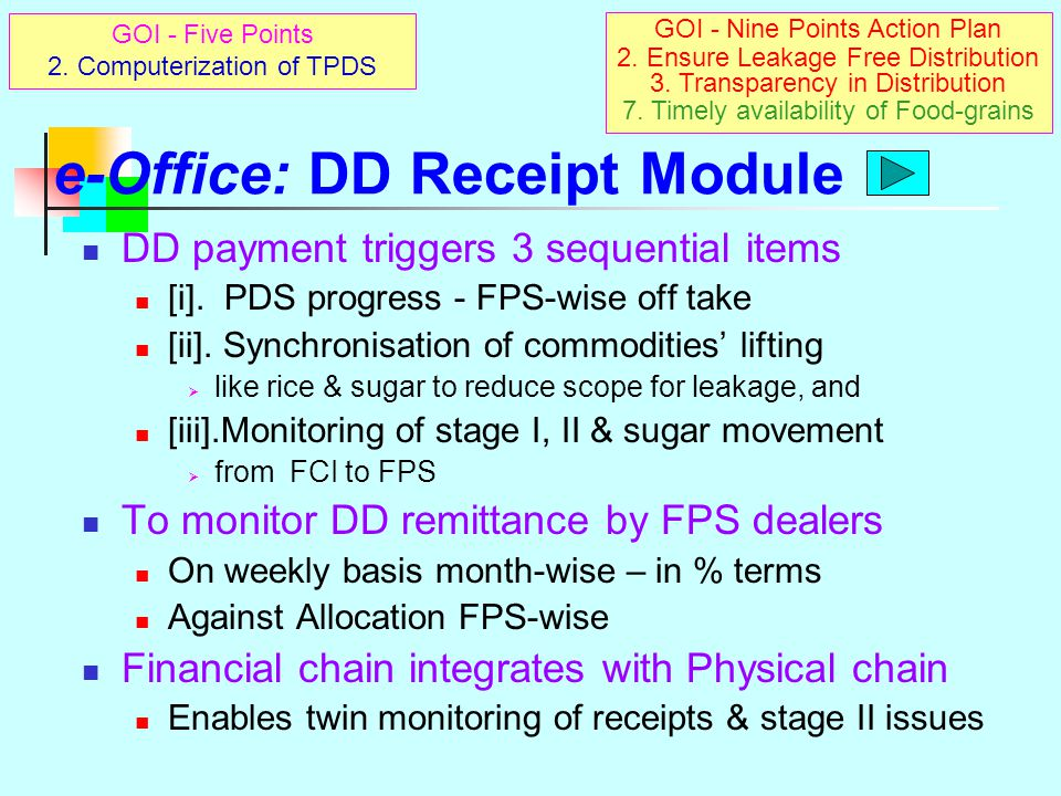 e-Office: DD Receipt Module