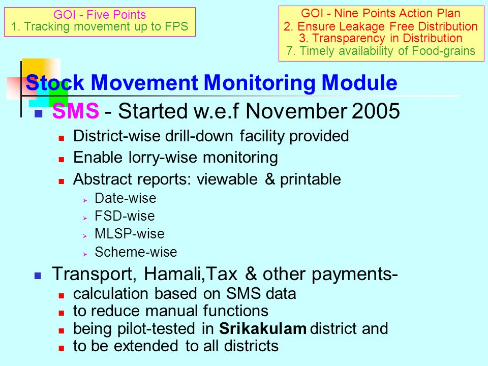 Stock Movement Monitoring Module