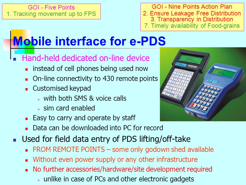 Mobile interface for e-PDS
