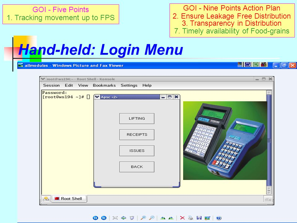 Hand-held: Login Menu GOI - Nine Points Action Plan GOI - Five Points