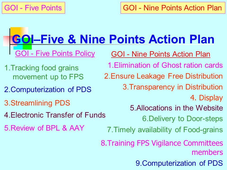 GOI–Five & Nine Points Action Plan