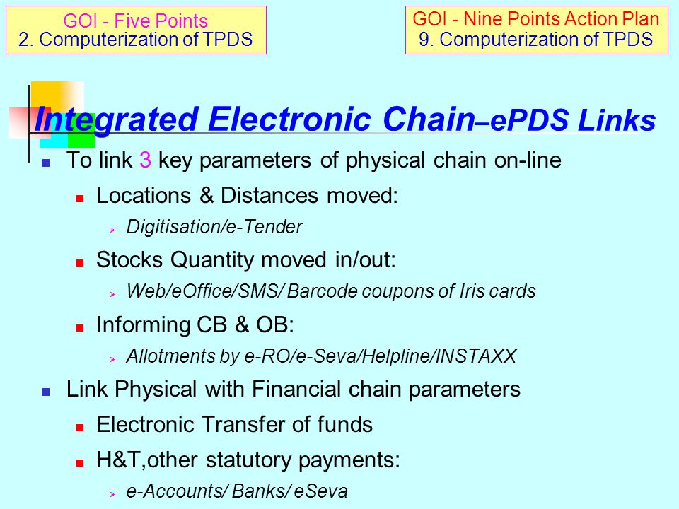 Integrated Electronic Chain–ePDS Links