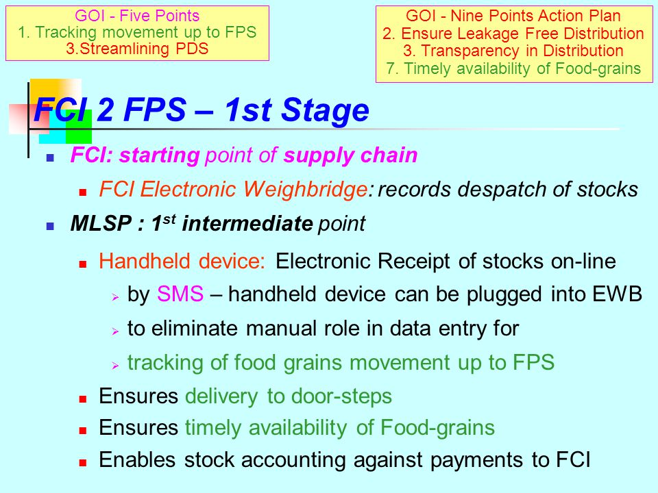 FCI 2 FPS – 1st Stage FCI: starting point of supply chain