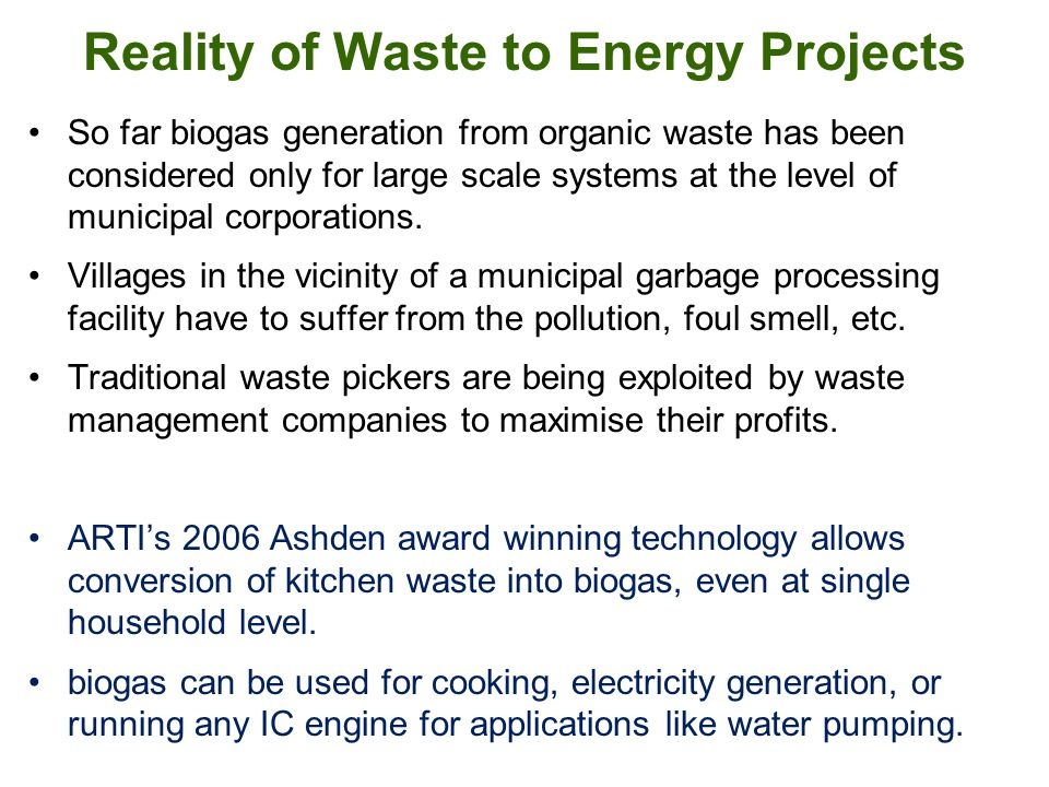 Reality of Waste to Energy Projects