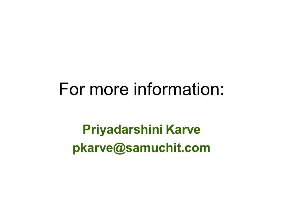 Priyadarshini Karve pkarve@samuchit.com