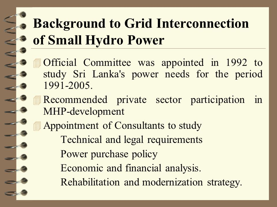Background to Grid Interconnection of Small Hydro Power