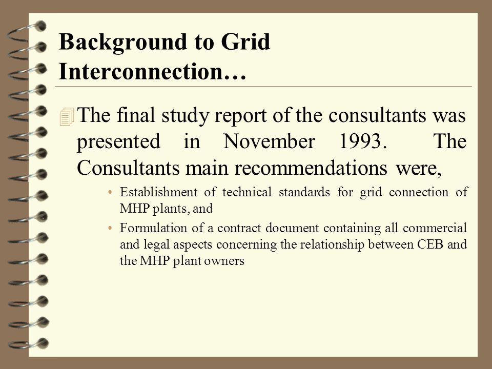 Background to Grid Interconnection…