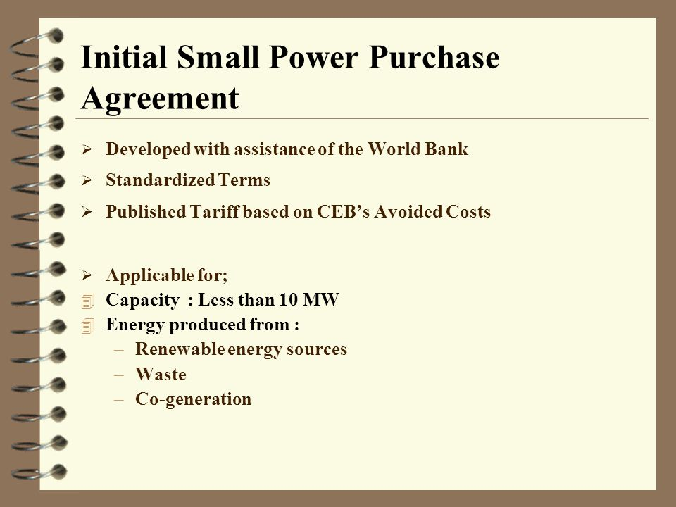 Initial Small Power Purchase Agreement