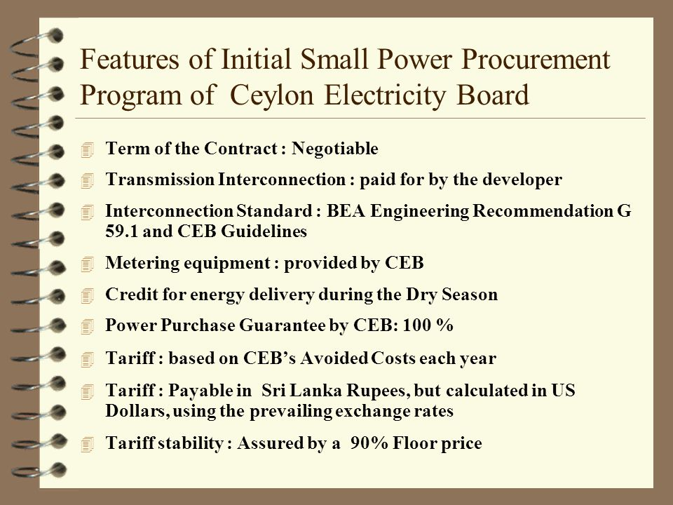 Features of Initial Small Power Procurement Program of Ceylon Electricity Board