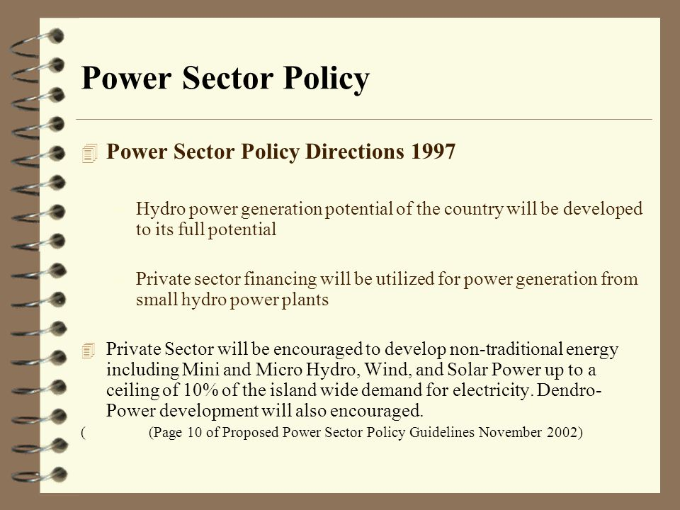 Power Sector Policy Power Sector Policy Directions 1997