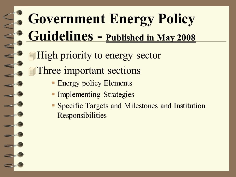 Government Energy Policy Guidelines - Published in May 2008
