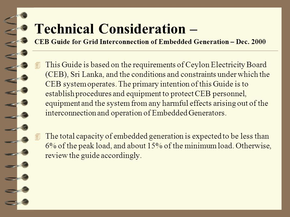Technical Consideration – CEB Guide for Grid Interconnection of Embedded Generation – Dec. 2000