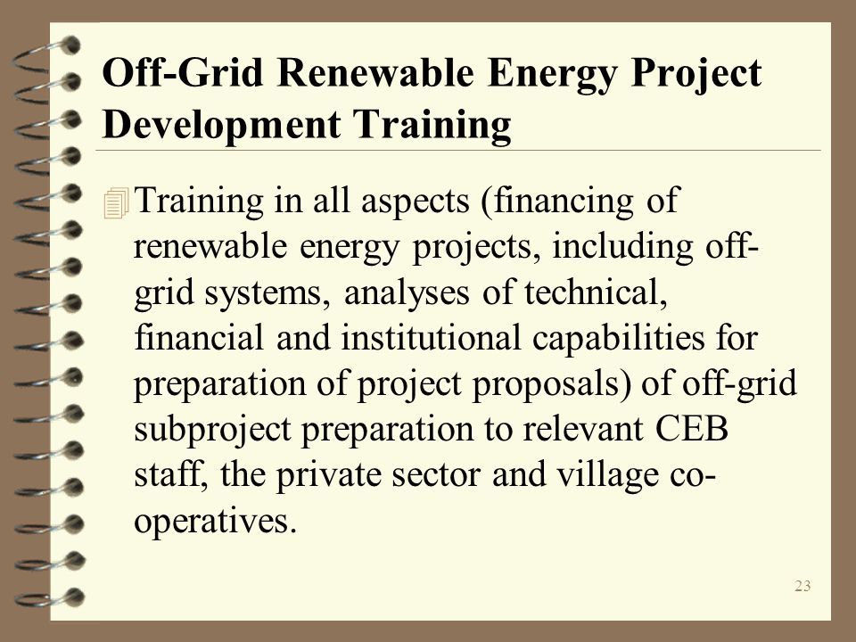 Off-Grid Renewable Energy Project Development Training