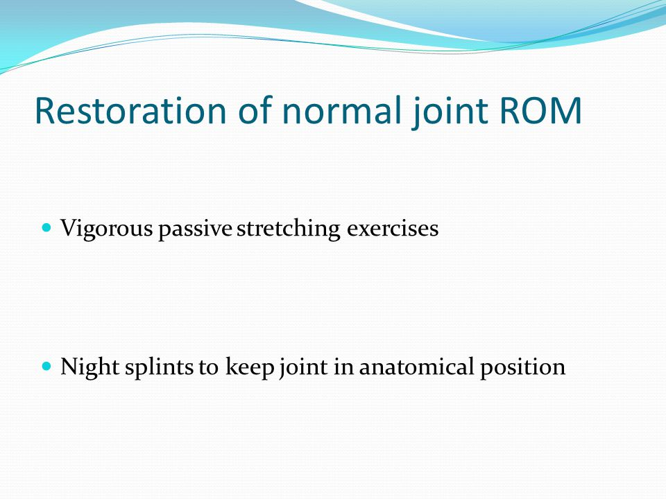 Restoration of normal joint ROM