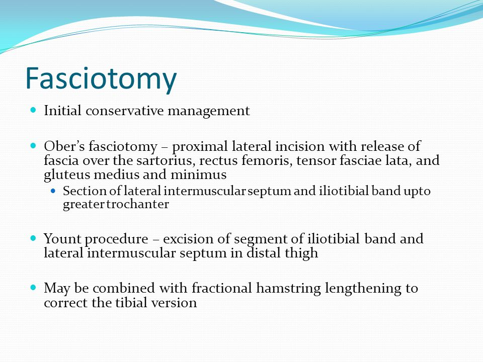 Fasciotomy Initial conservative management
