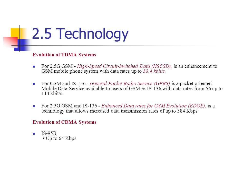 2.5 Technology Evolution of TDMA Systems