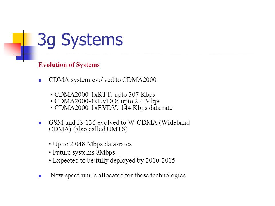 3g Systems Evolution of Systems CDMA system evolved to CDMA2000