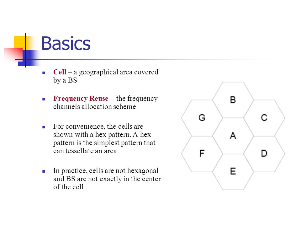 Basics Cell – a geographical area covered by a BS