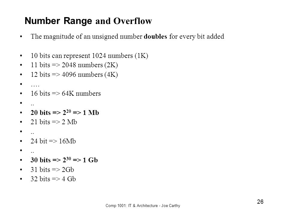 Number Range and Overflow