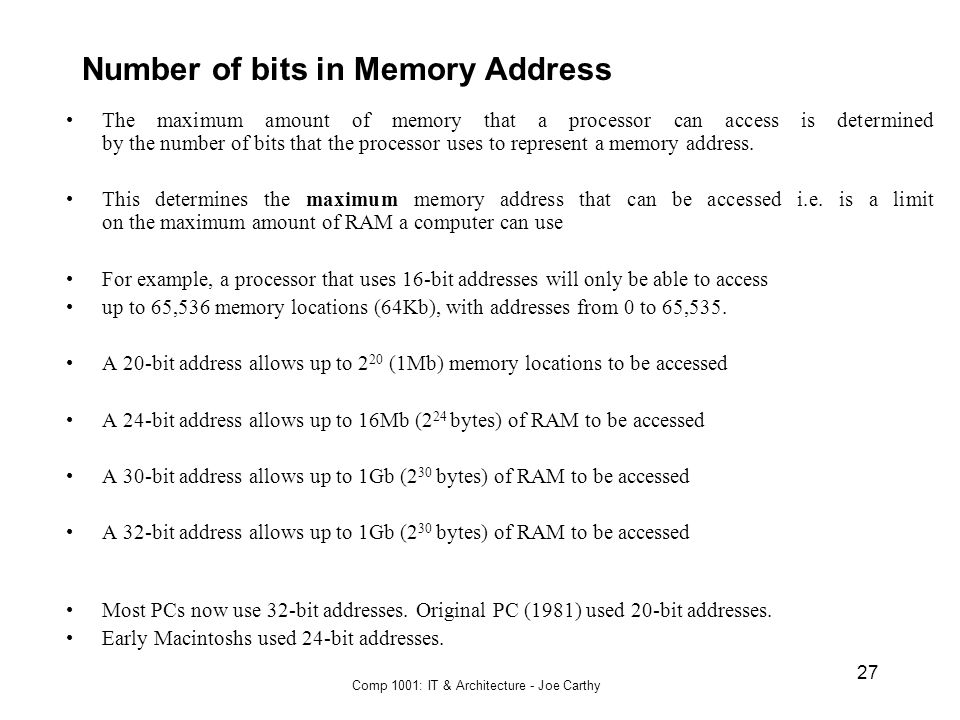 Number of bits in Memory Address
