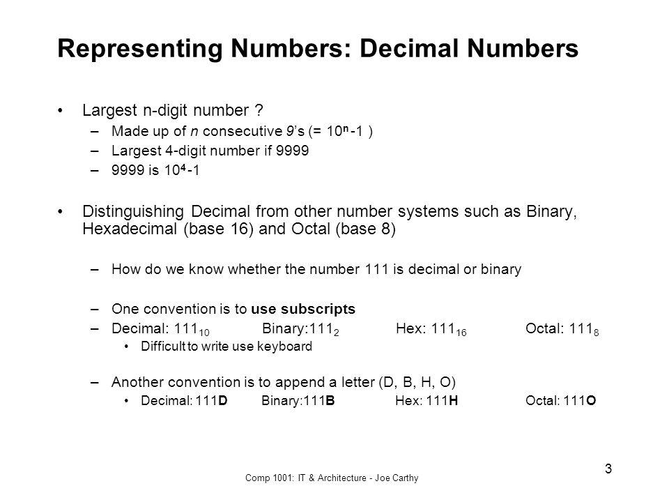 Representing Numbers: Decimal Numbers