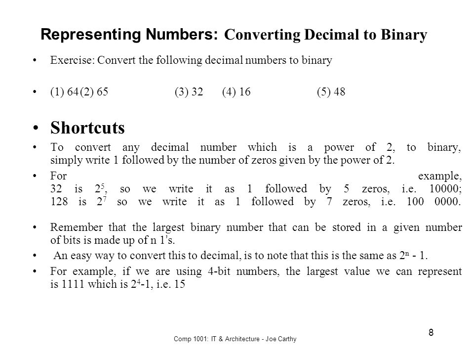 Representing Numbers: Converting Decimal to Binary