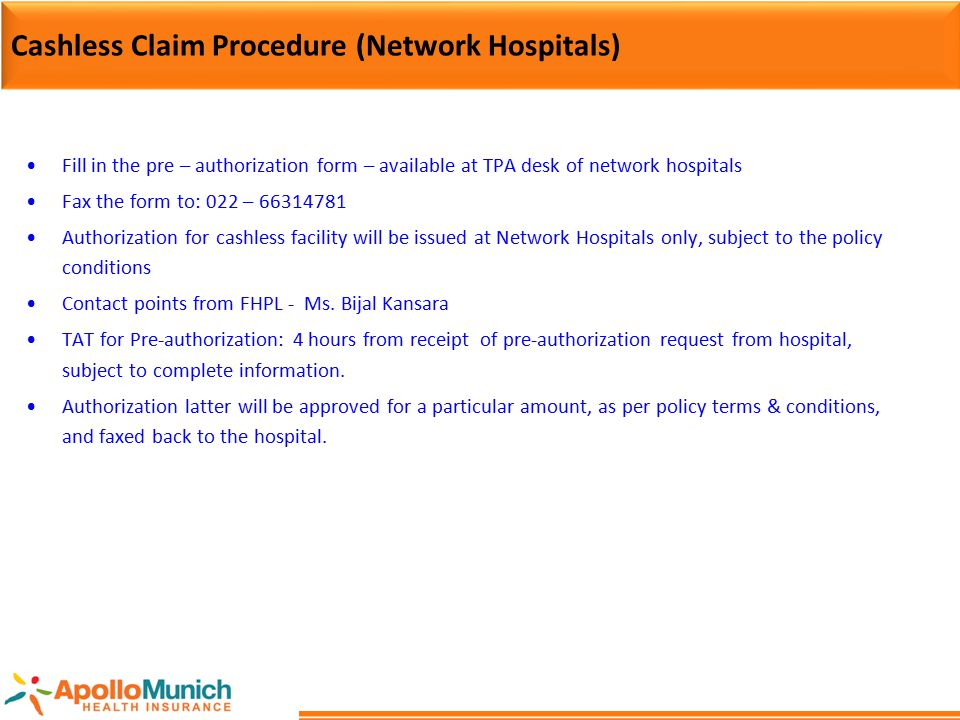 Cashless Claim Procedure (Network Hospitals)