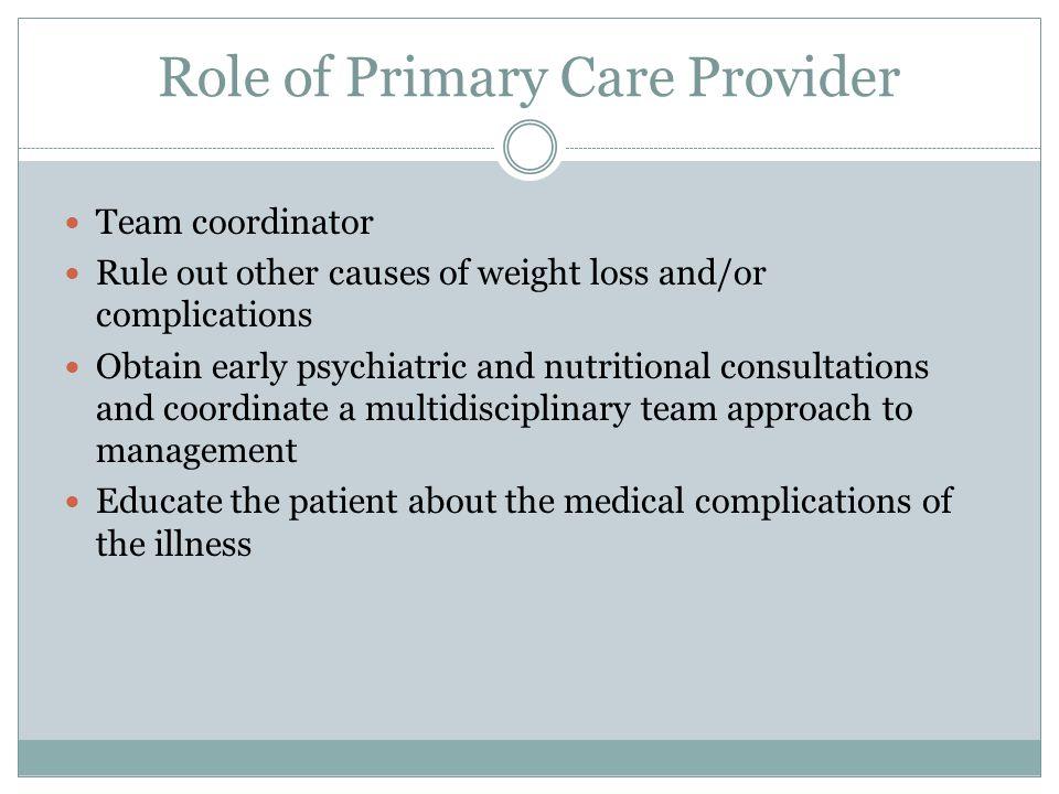 Role of Primary Care Provider