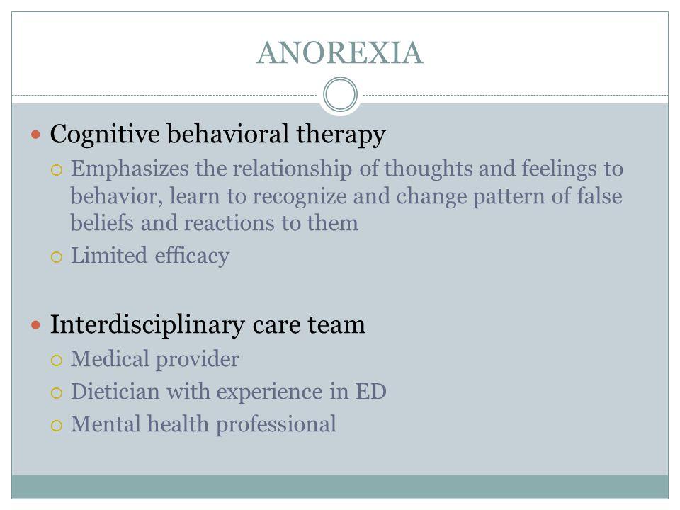 ANOREXIA Cognitive behavioral therapy Interdisciplinary care team