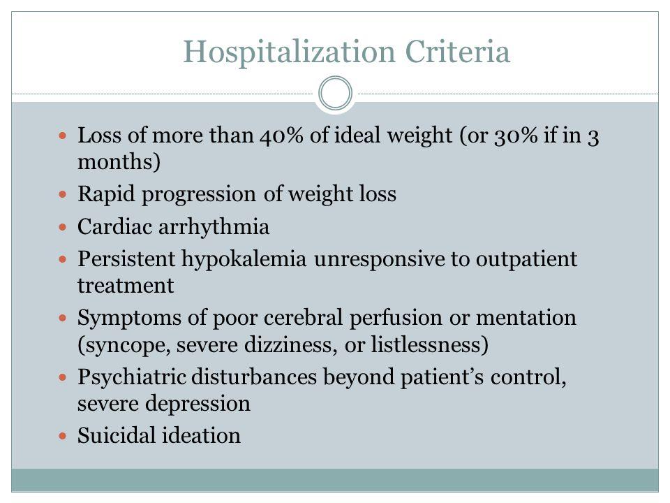 Hospitalization Criteria
