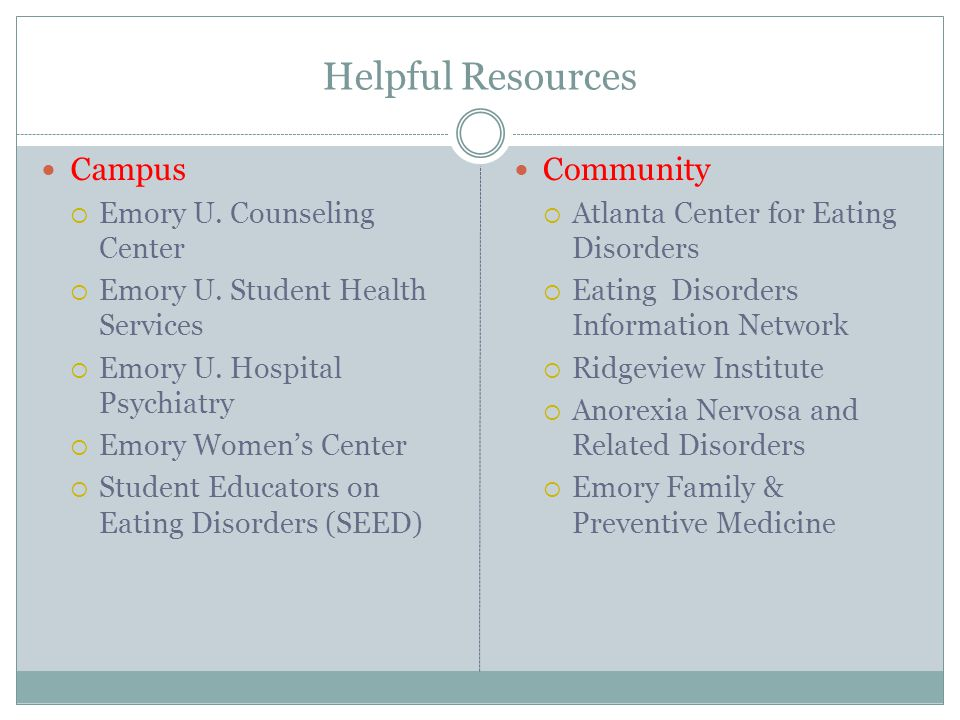 Helpful Resources Campus Community Emory U. Counseling Center