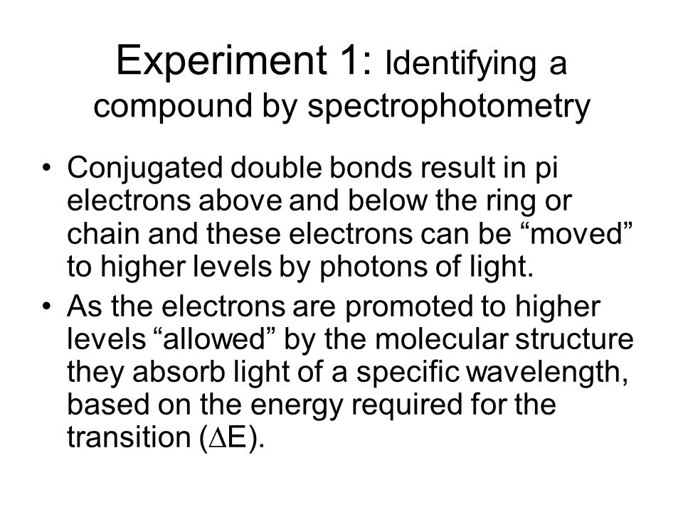 Experiment 1: Identifying a compound by spectrophotometry