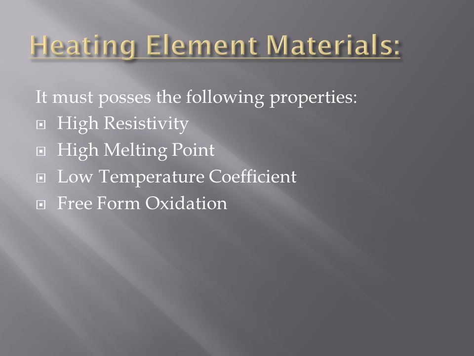 Heating Element Materials: