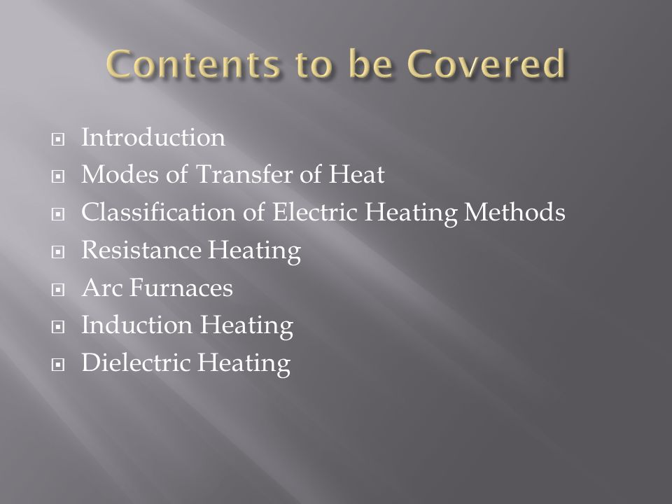 Contents to be Covered Introduction Modes of Transfer of Heat